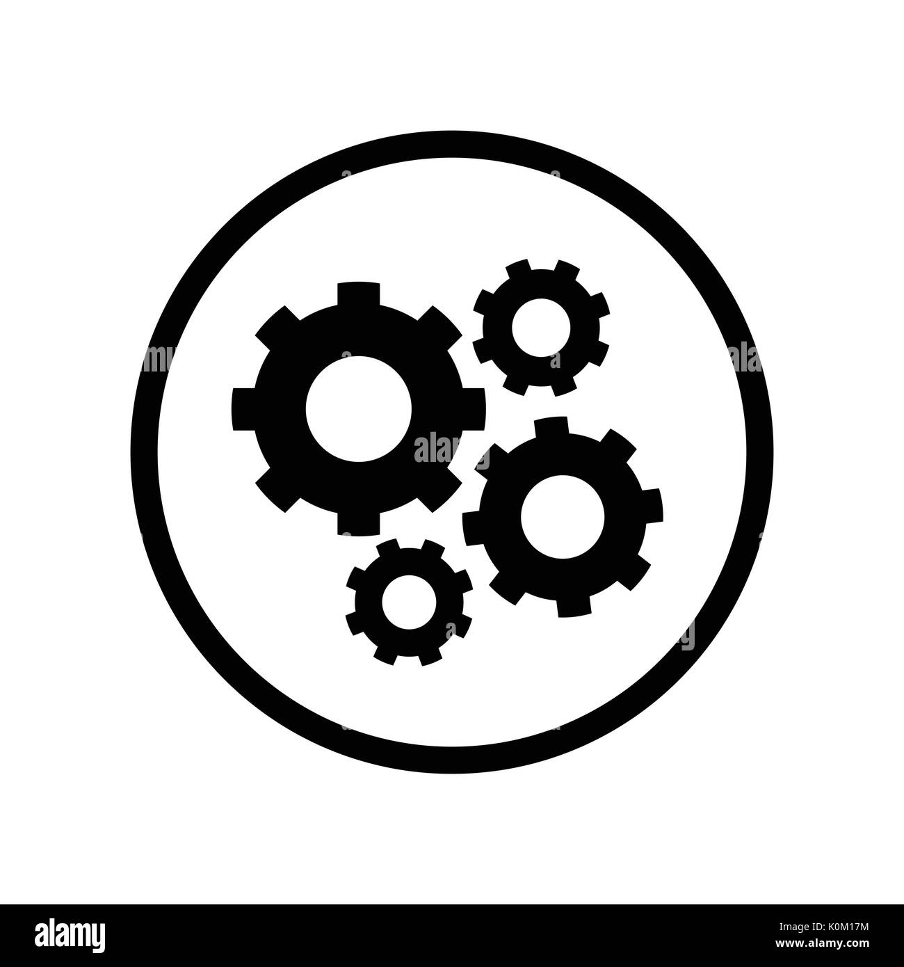 Pictograph of Gears icon in circle, iconic symbol on white background - Vector Iconic Design. - Stock Vector