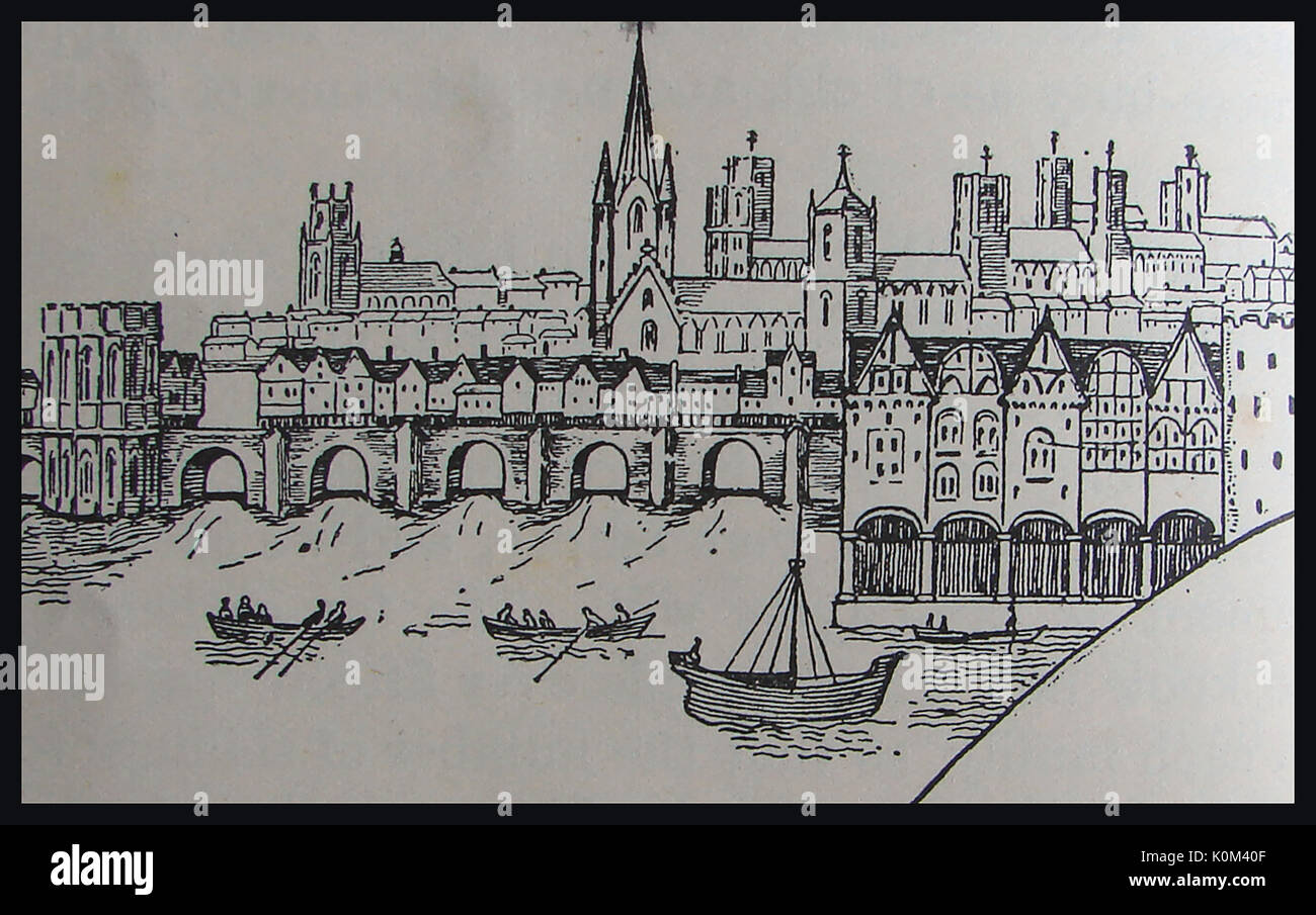 An early line drawing showing the old London Bridge, UK - Stock Image