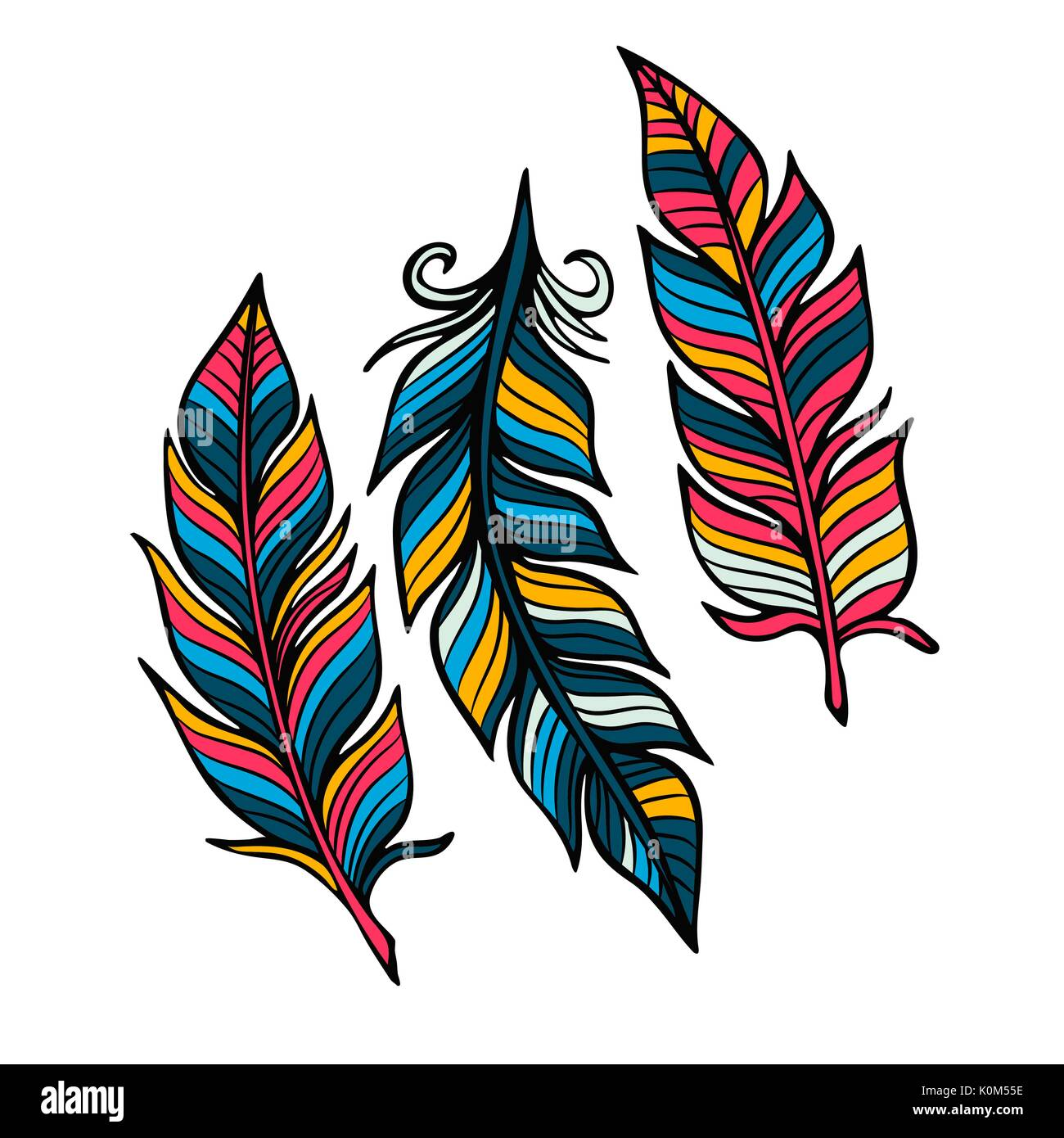 Feathers vector set in a flat style. Icons feathers isolated on a light background. - Stock Vector