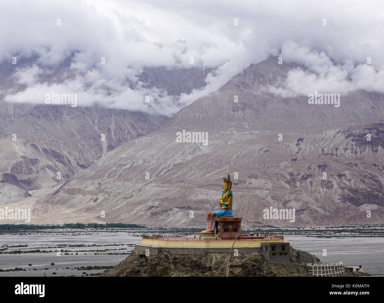 The 32 metre (106 foot) statue of Maitreya Buddha near Diskit monastery in Ladakh, India. The statue construction was started in 2006. - Stock Image