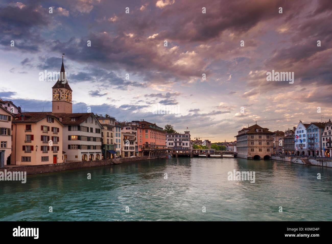 Zurich. Cityscape image of Zurich, Switzerland during dramatic sunset. - Stock Image
