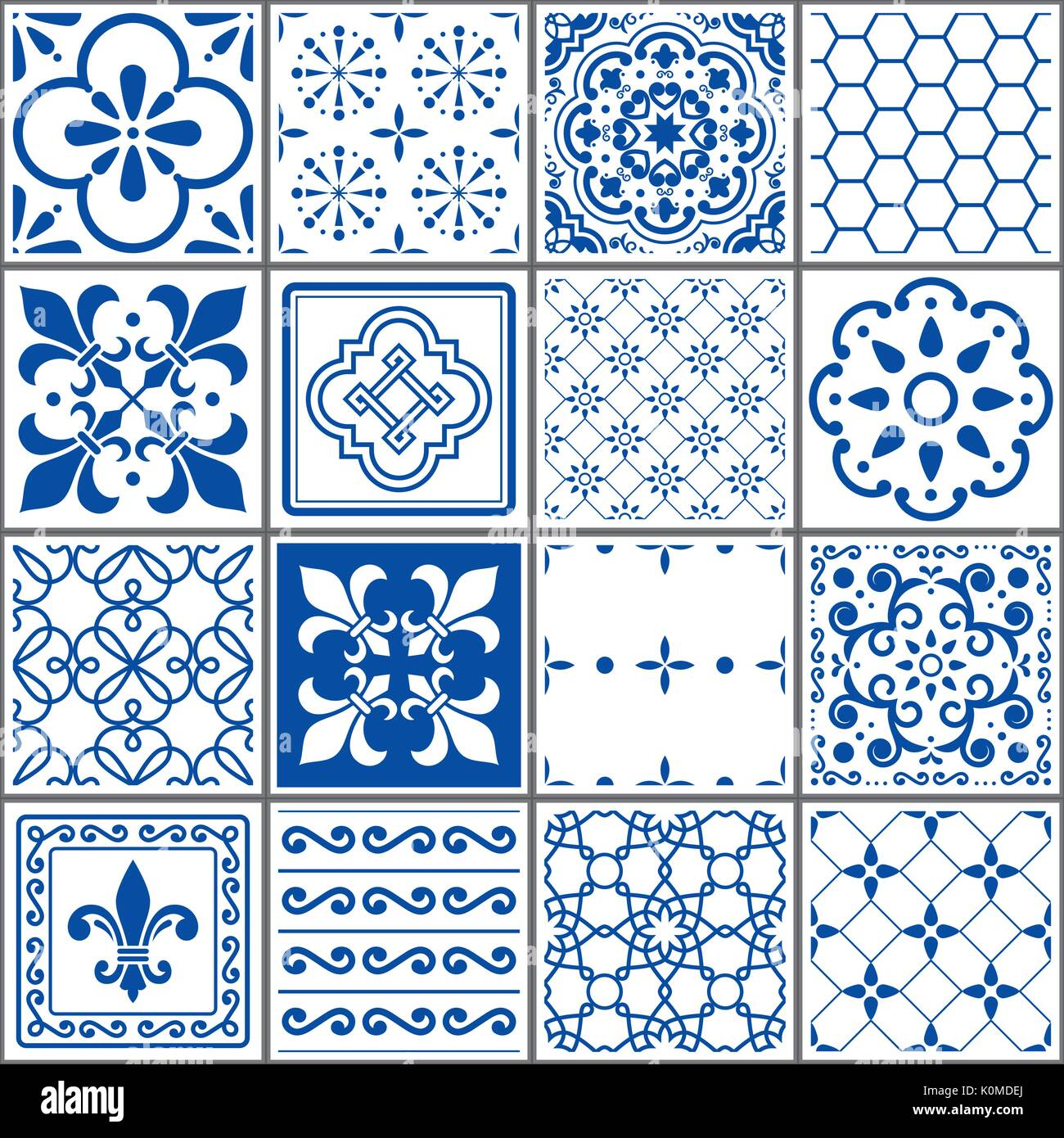 Portuguese tiles pattern, Lisbon seamless indigo blue tiles, Azulejos vintage geometric ceramic design - Stock Vector