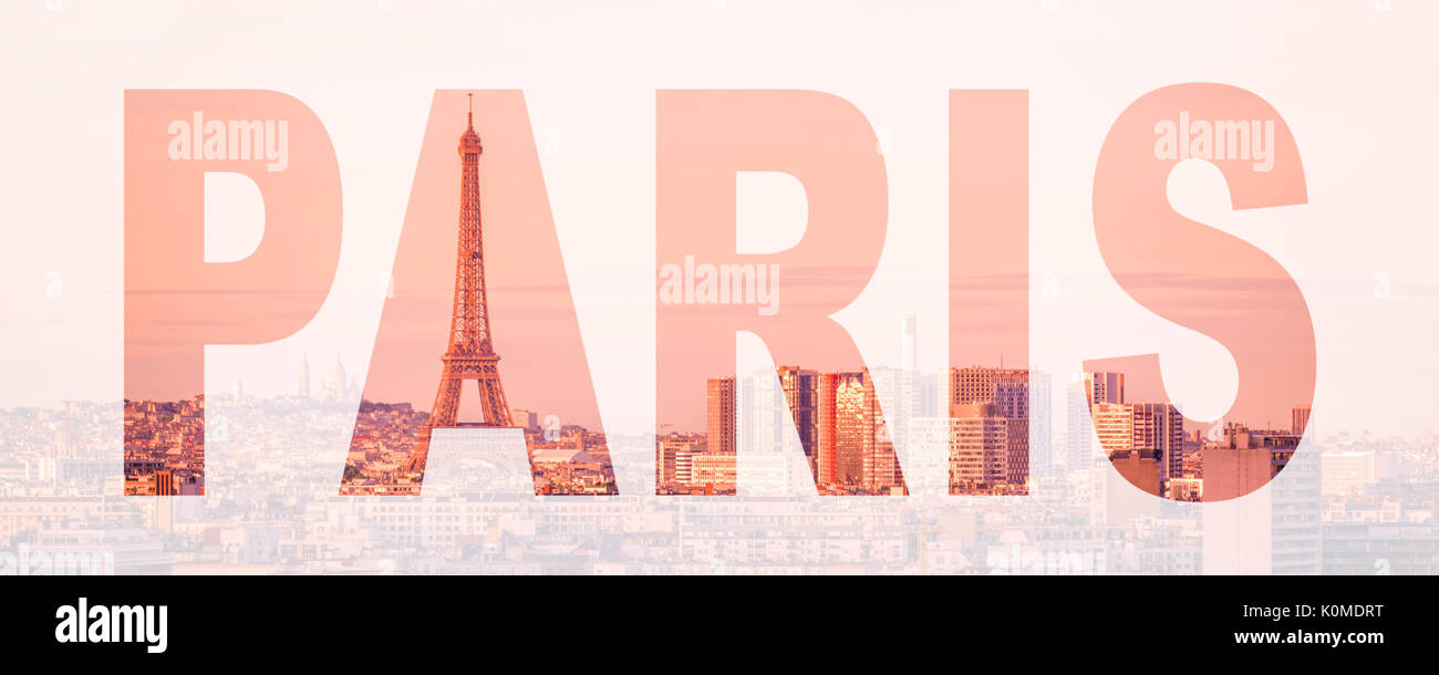 Word Paris, France and Europe city travel concept Stock Photo