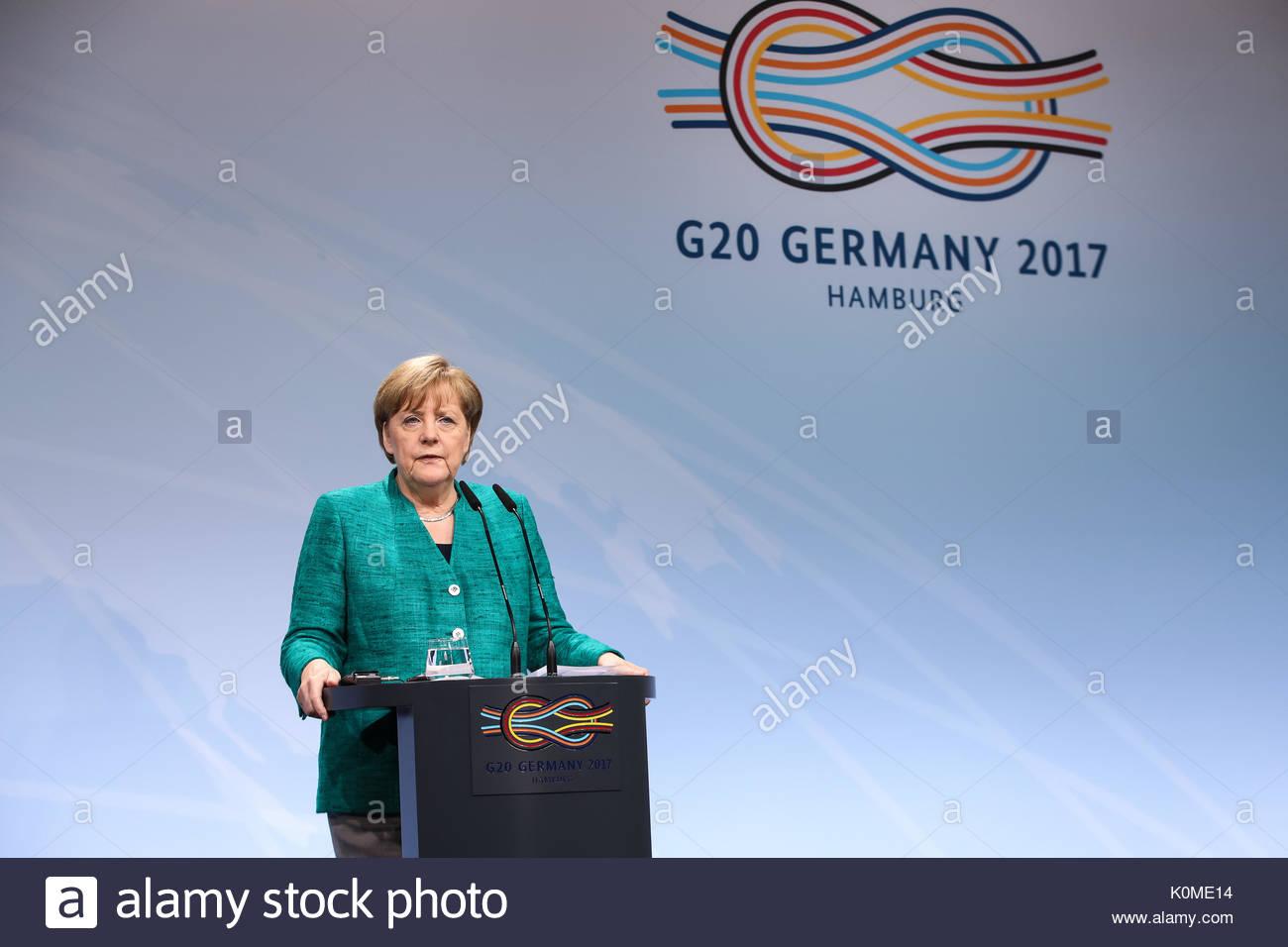 Bundeskanzlerin Angela Merkel bei der Abschlusspressekonferenz beim G20 Gipfel in den Messehallen in Hamburg. - Stock Image