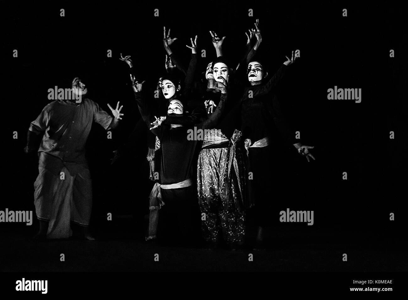 mime artists performing at national mime festival, Kolkata, west Bengal, India, Asia - Stock Image