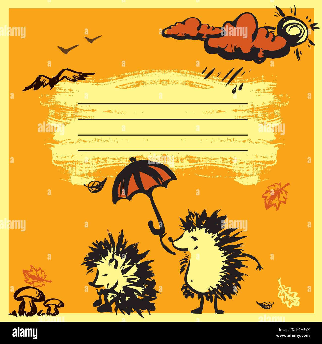 Notebook Cover Design With Two Hedgehogs Autumn Vector