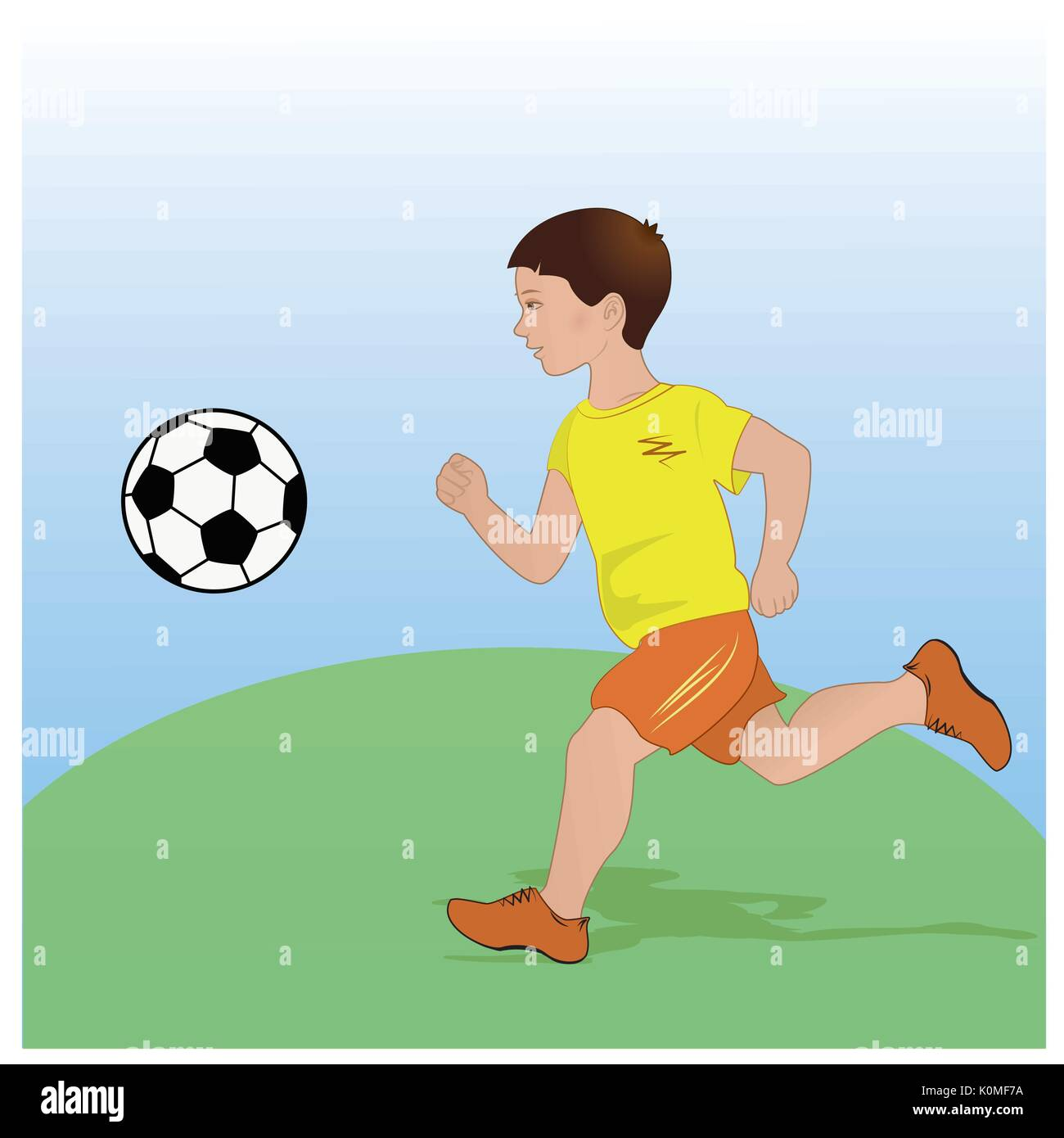 boy playing football. Flat design. - Stock Vector
