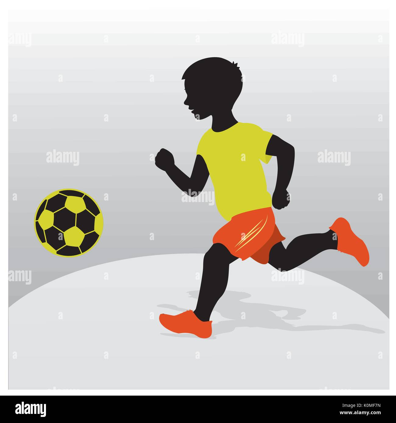Silhouette of a boy playing football. Flat design. Vector illustration - Stock Vector
