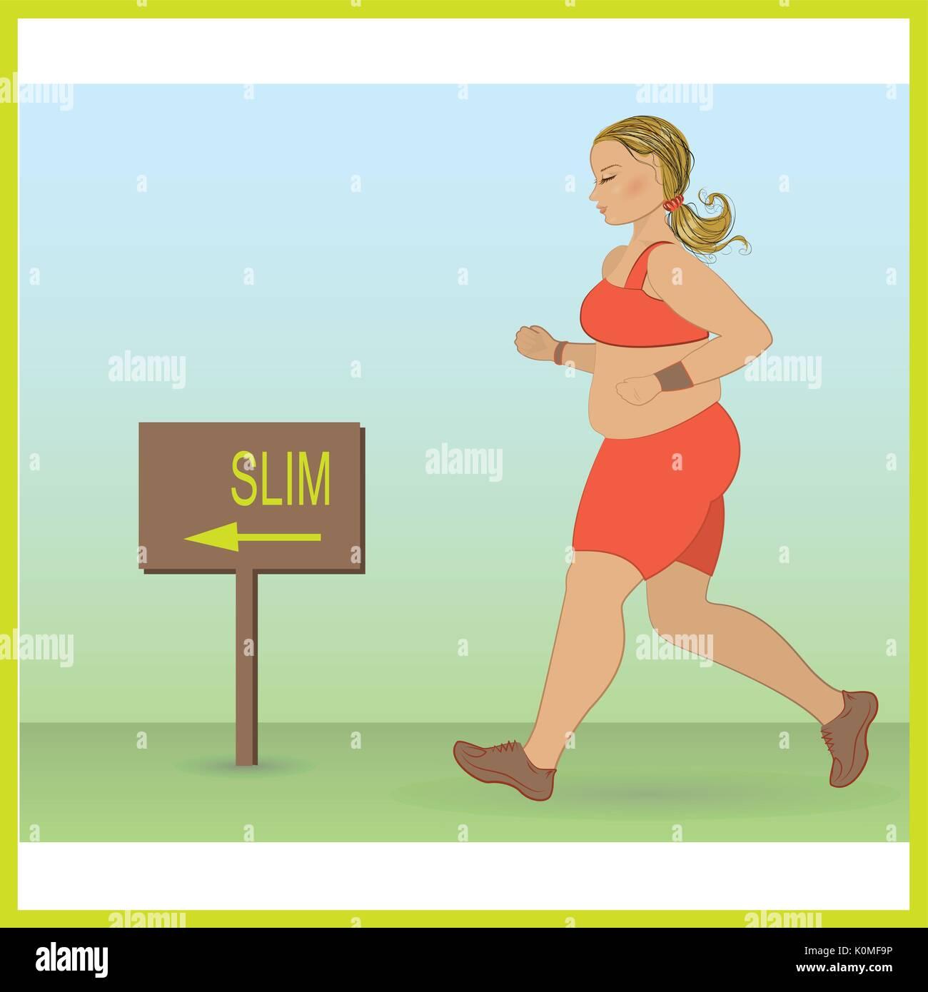 cartoon fat girl jogging, weight loss concept, cardio training, health conscious concept running woman. Vector - Stock Vector