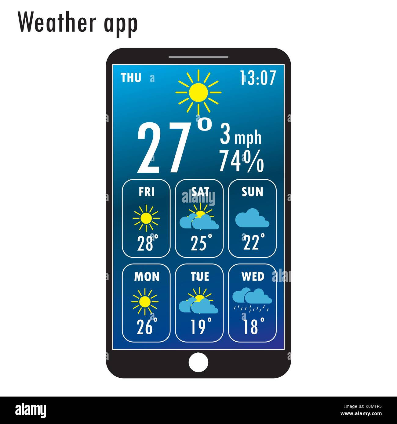 modern smartphone with weather app on the screen flat design template for mobile apps vector illustration