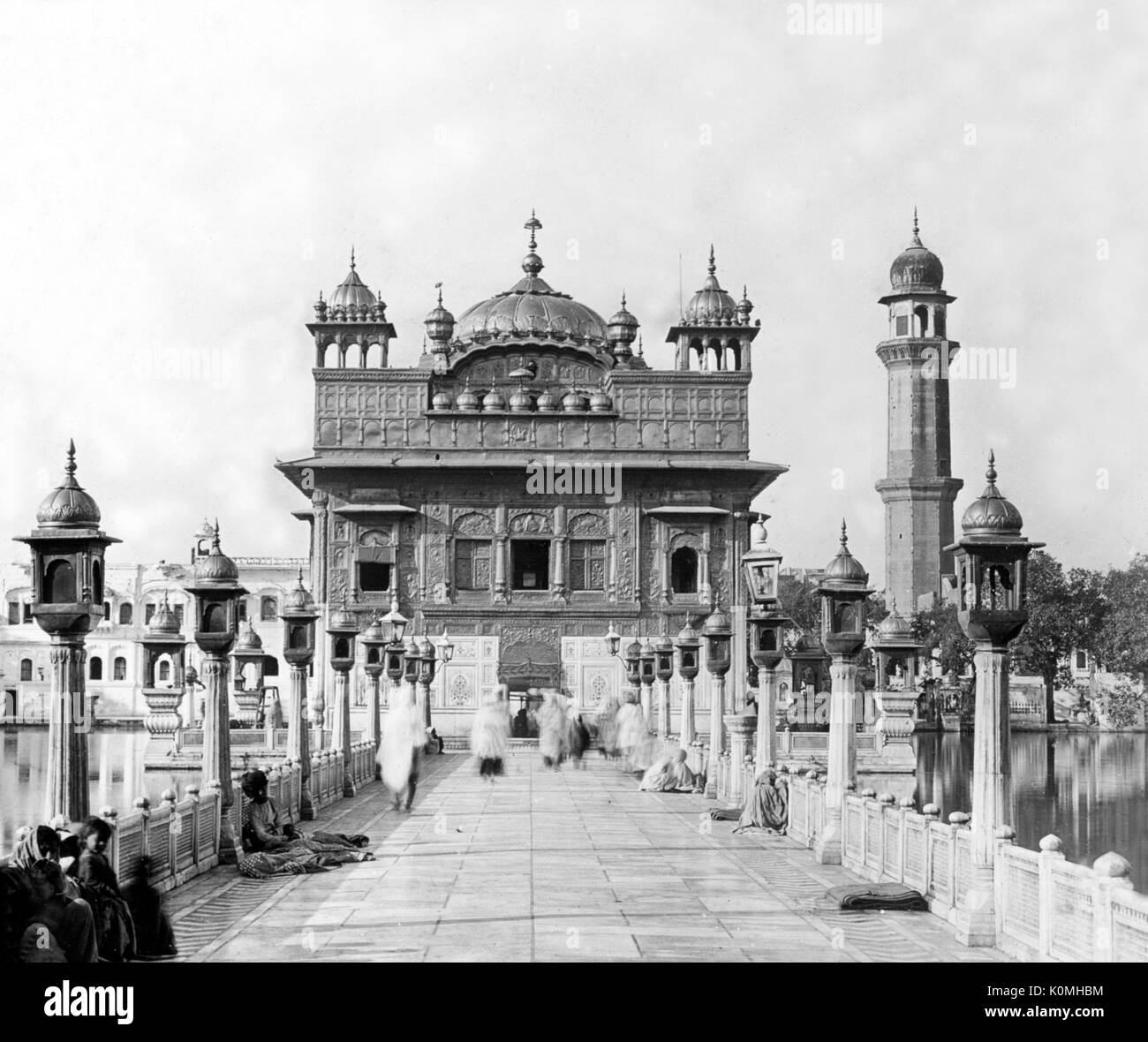 Old vintage lantern slide of golden temple, Amritsar, Punjab, India, Asia, 1800s - Stock Image