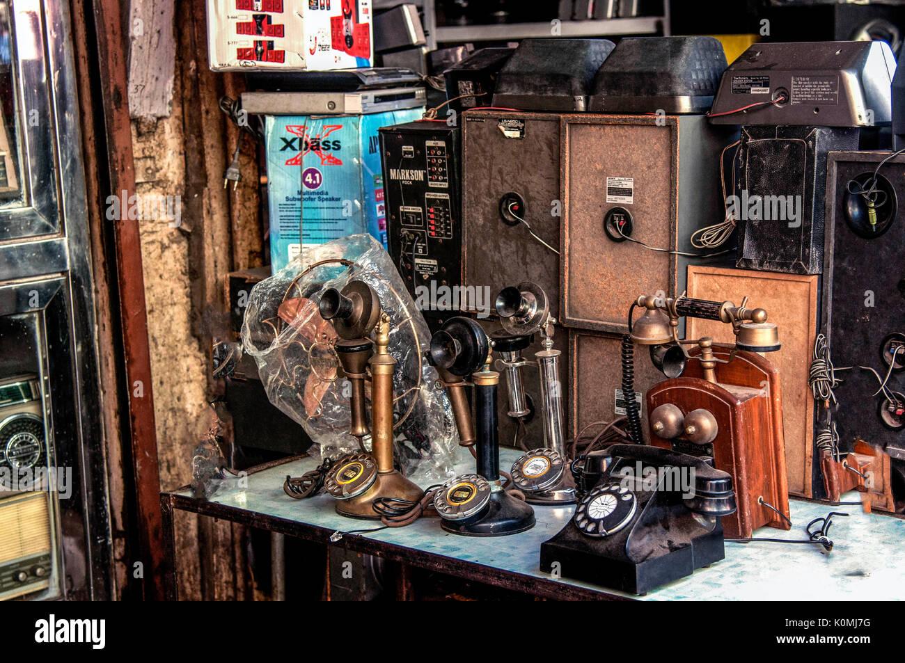 telephones shop chor bazaar, Mumbai, Maharashtra, India, Asia - Stock Image