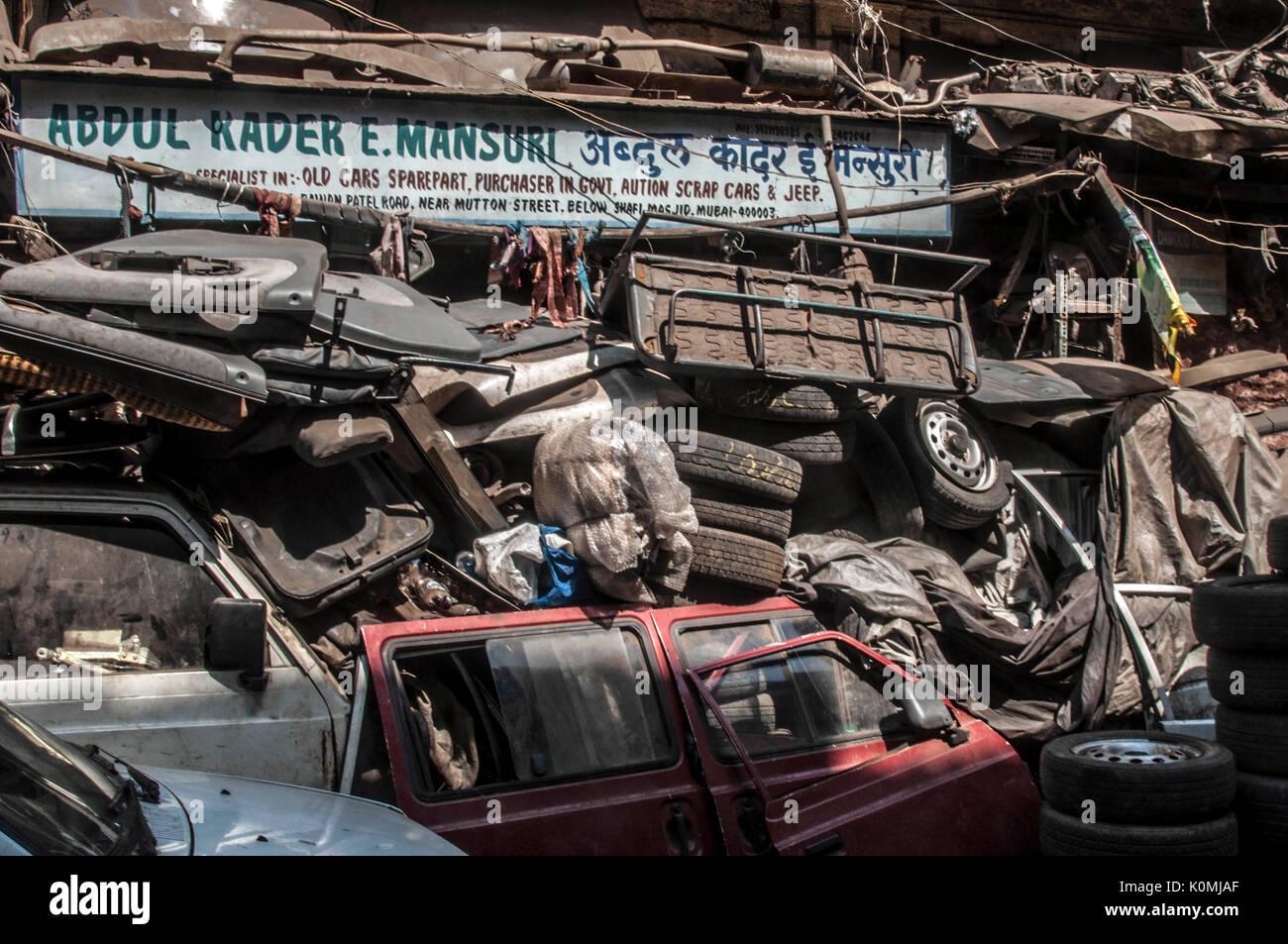 Scrap Car spare parts at Chor Bazaar, Mumbai, Maharashtra, India, Asia - Stock Image