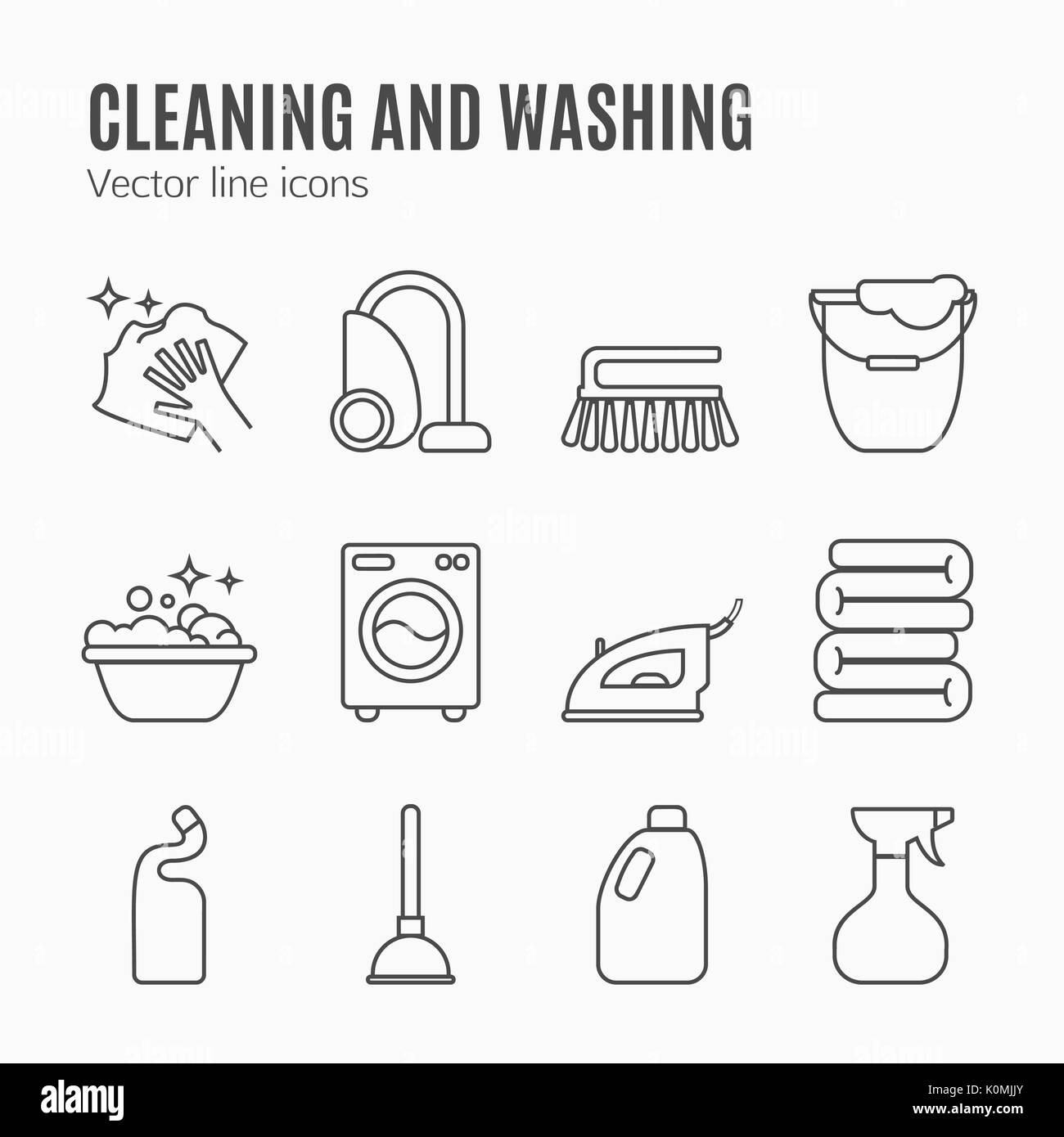 Cleaning, wash line icons. Washing machine, sponge, mop, iron, vacuum cleaner, shovel and other clining icon. Order in the house thin linear signs for cleaning service. - Stock Vector
