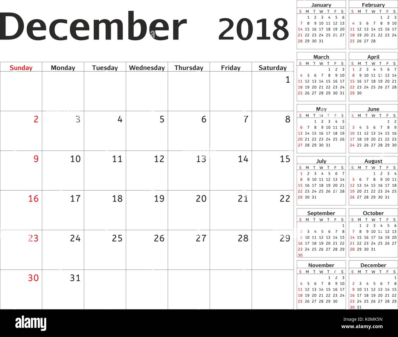 Simple Calendar Planner For 2018 Year Vector Design December Stock