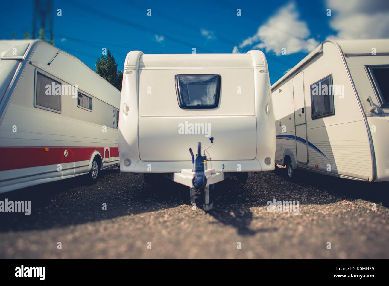 Pre Owned Travel Trailers For Sale. Campers and RVs Dealership Lot. - Stock Image