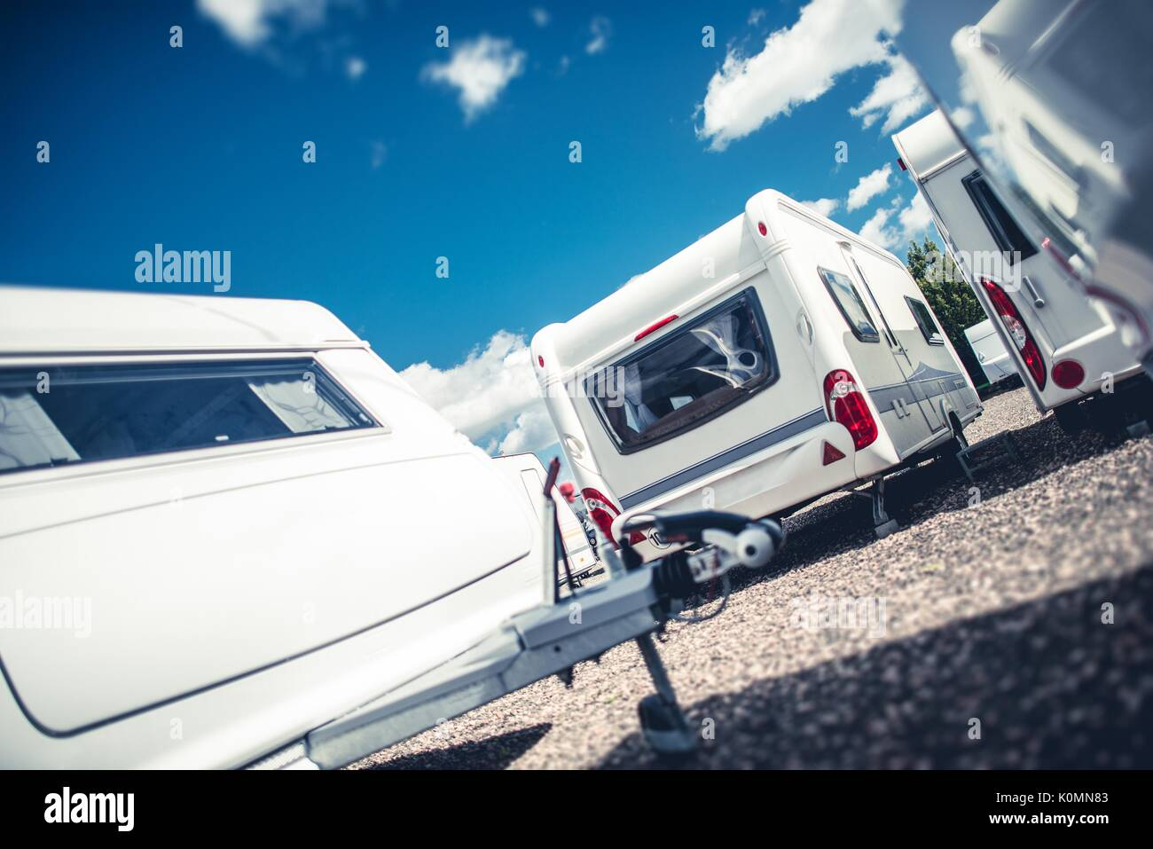 Travel Trailers Sales. Brand New and Pre Owned Travel Trailer Campers For Sale. - Stock Image