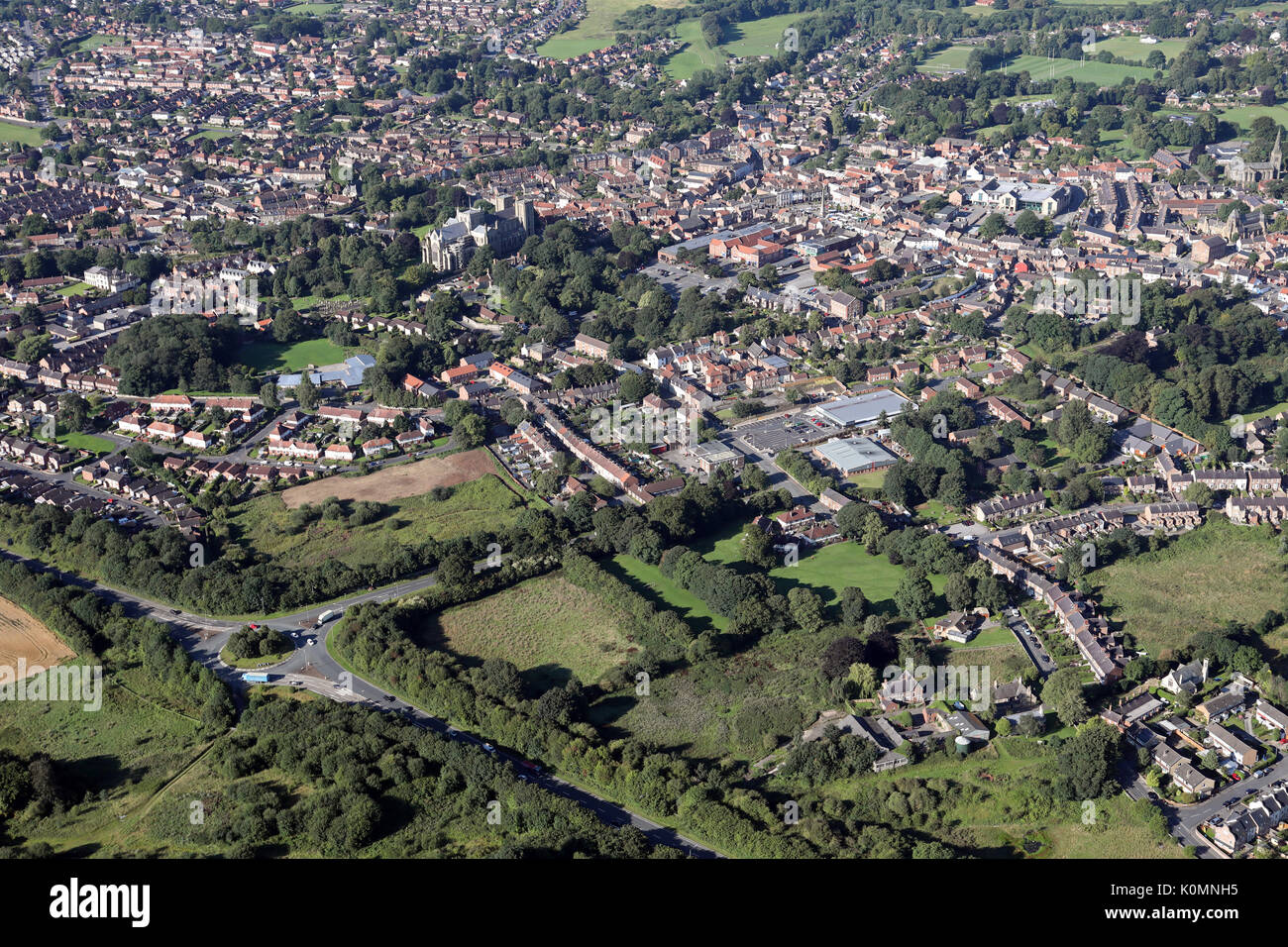 aerial view of Ripon, North Yorkshire from above the A61 at the junction of Rotary Way - Stock Image