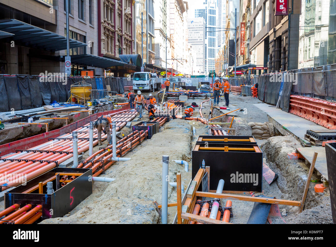 Civil engineering and construction works to build the Sydney CBD light rail project underway in George street Sydney city centre,Australia - Stock Image