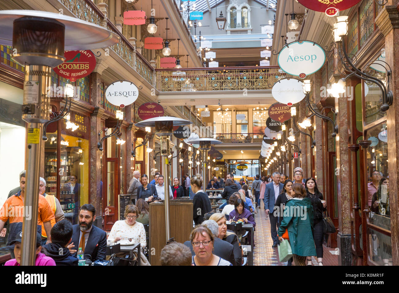The Strand Arcade built in 1891 is Sydney's only remaining Victorian retail arcade, located in the city centre, with upmarket shops and stores - Stock Image