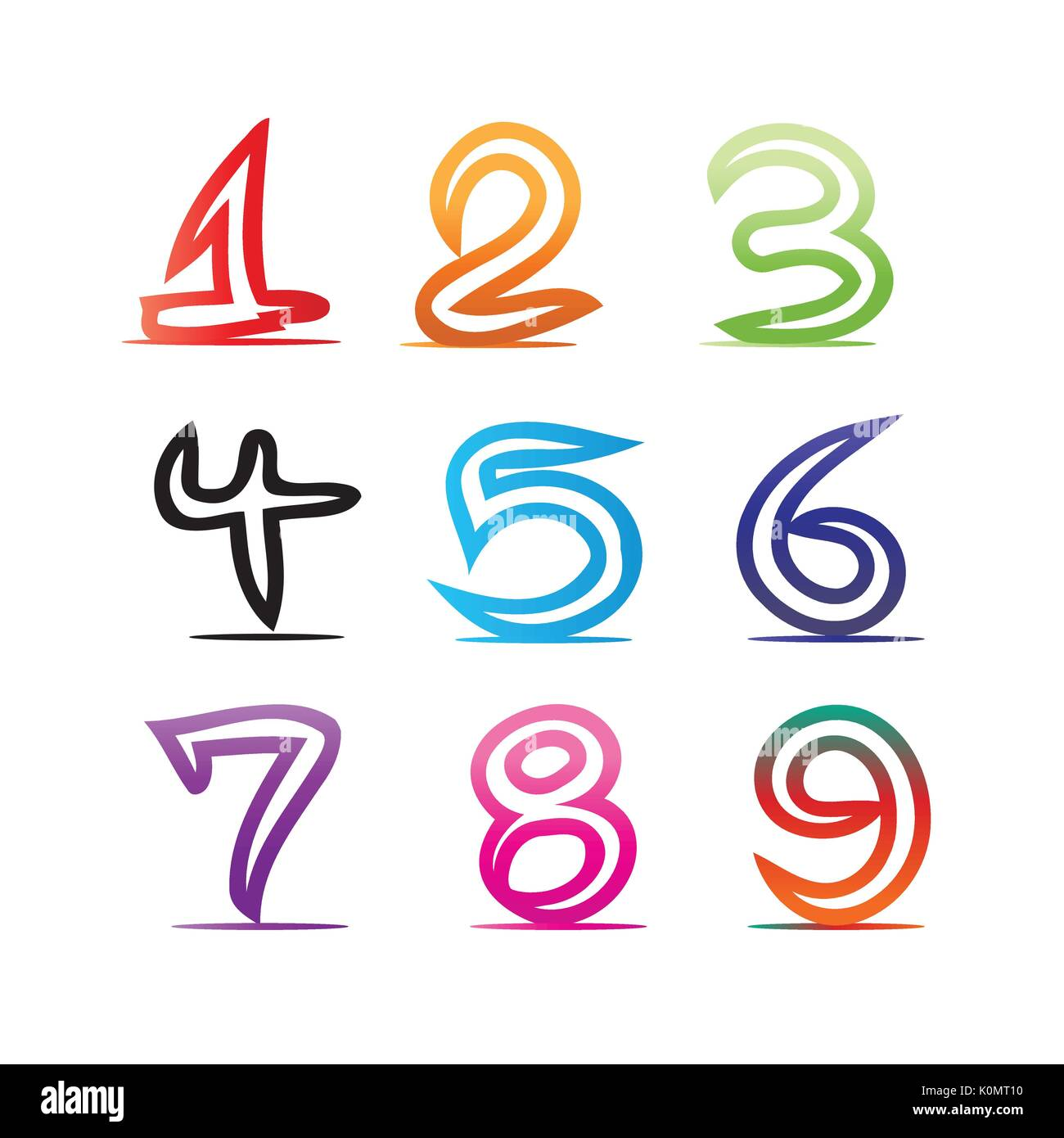 colorful numbers illustration, one, two, three, four, five ...