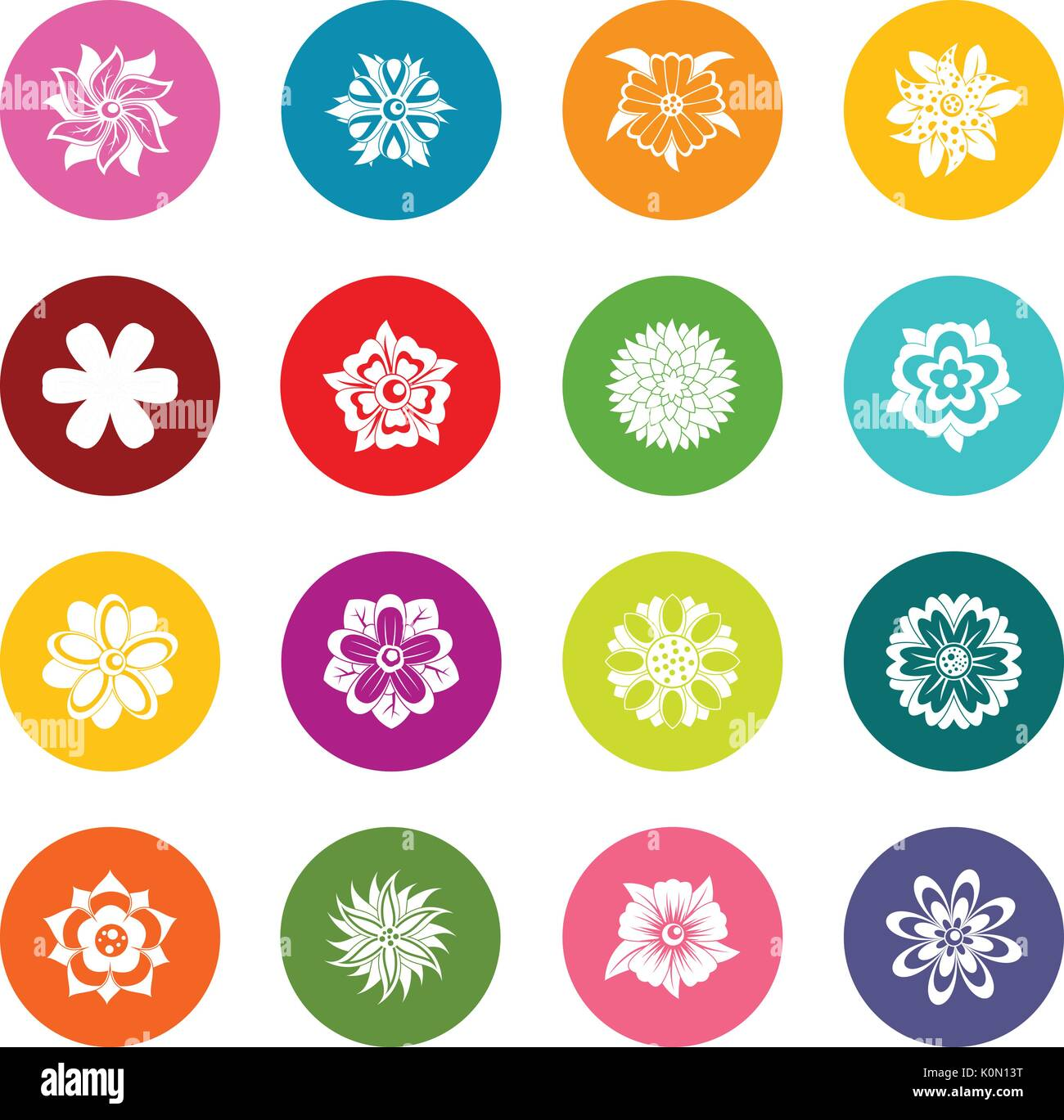 Different flowers icons many colors set - Stock Image