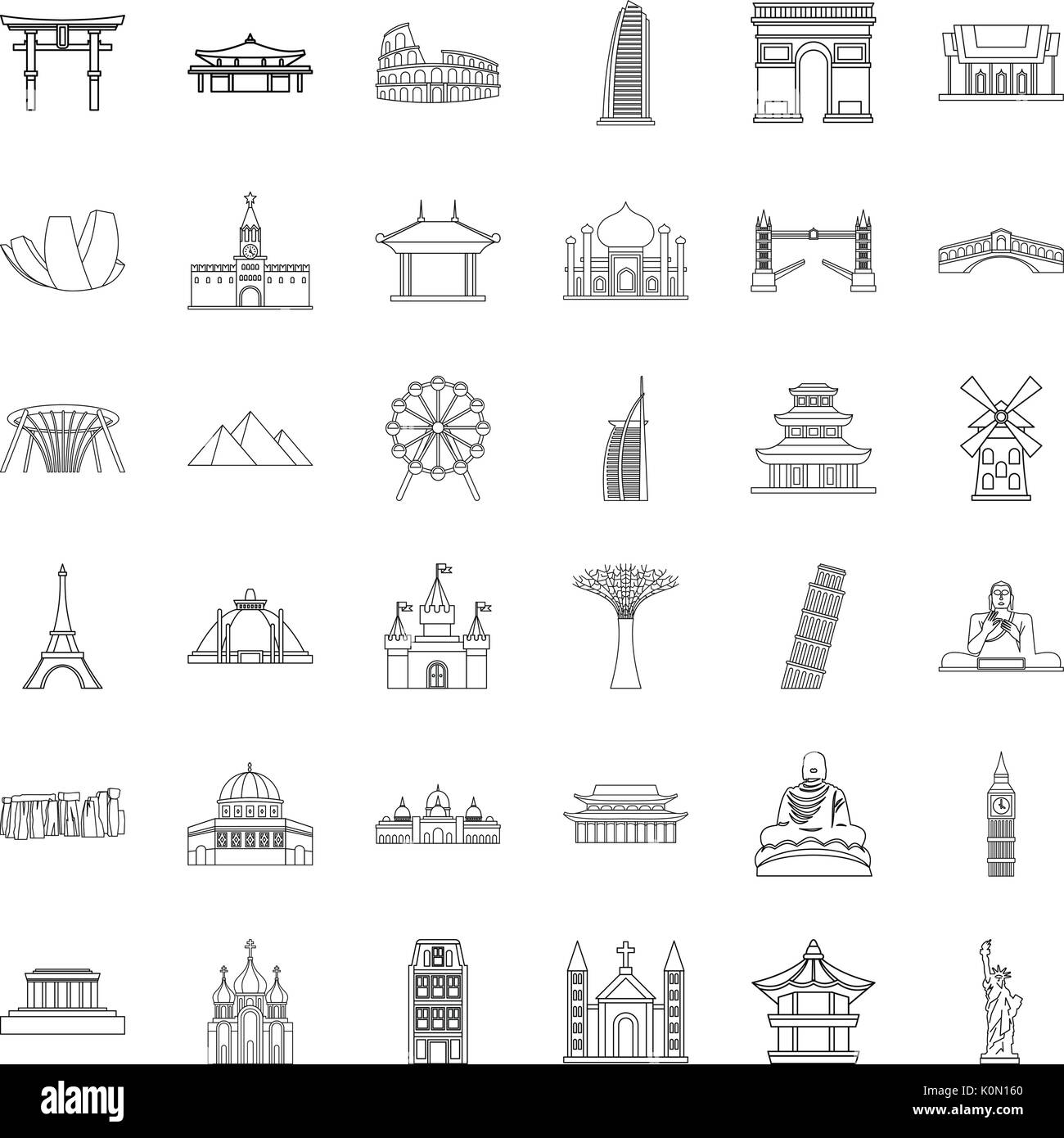 Famous place icons set, outline style - Stock Vector