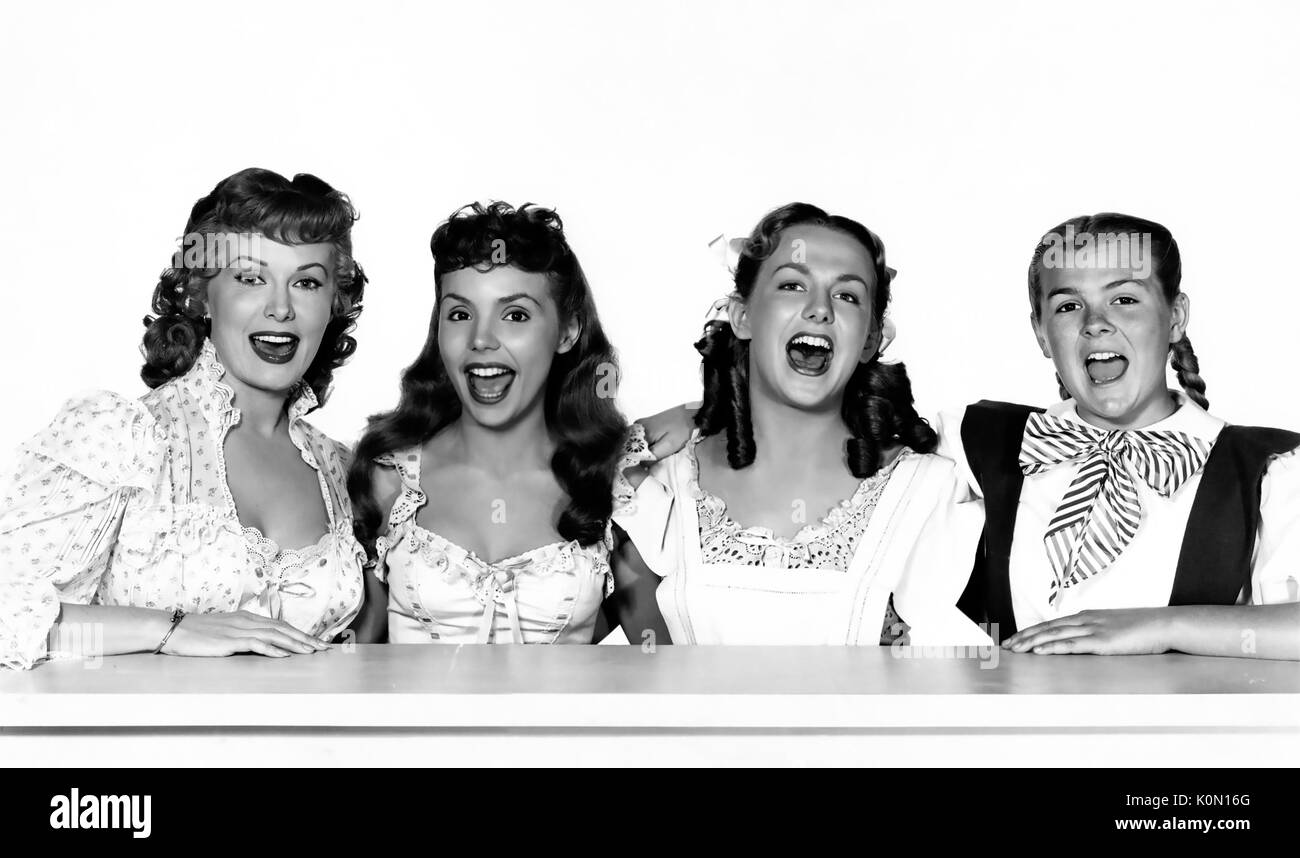 THOSE REDHEADS FROM SEATTLE 1953 Paramoiunt film with from left: Rhonda Fleming, Teresa Brewer, Jean Parker, Agnes Moorhead - Stock Image