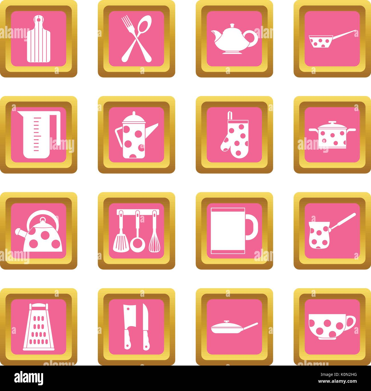 Kitchen tools and utensils icons pink - Stock Vector