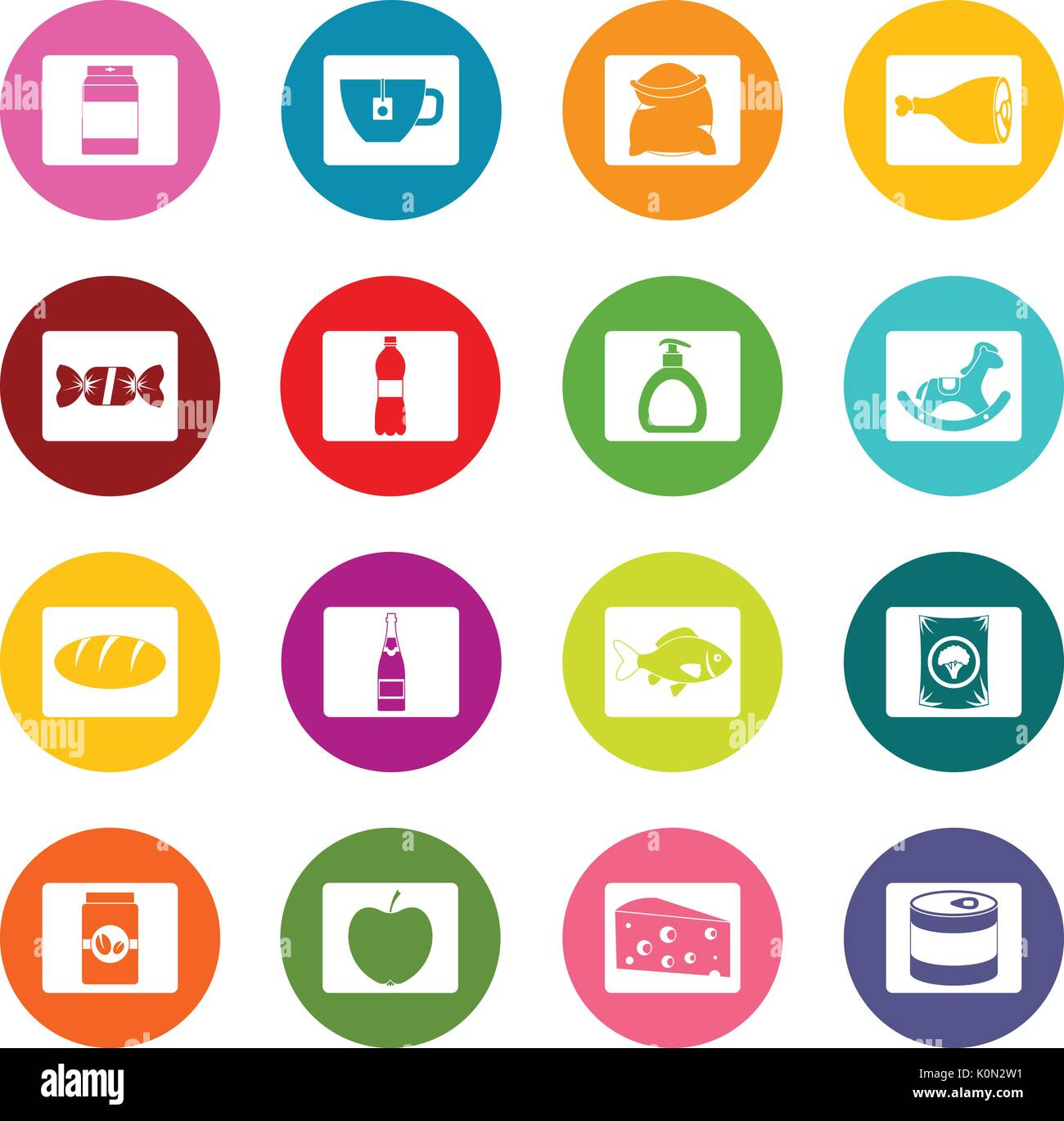 Shop navigation foods icons many colors set - Stock Image