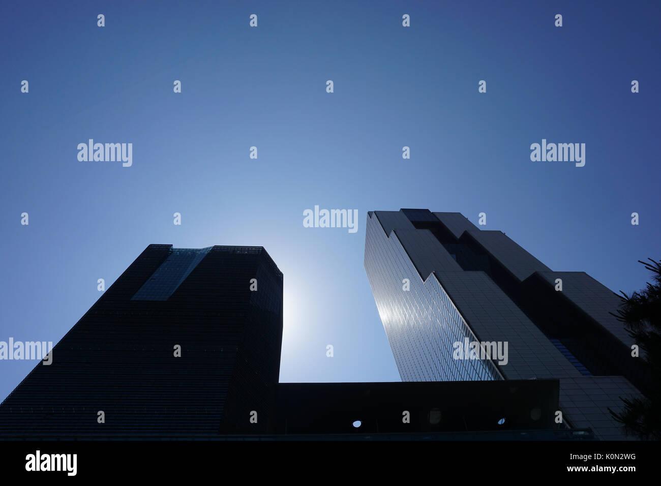 Modern buildings in Korea against blue sky - Stock Image
