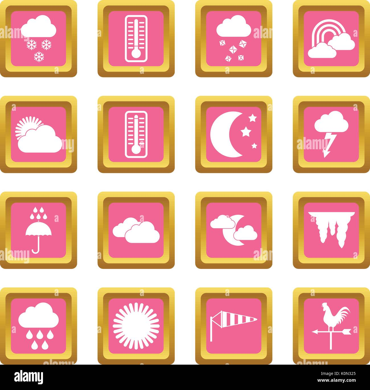 Weather icons pink - Stock Vector