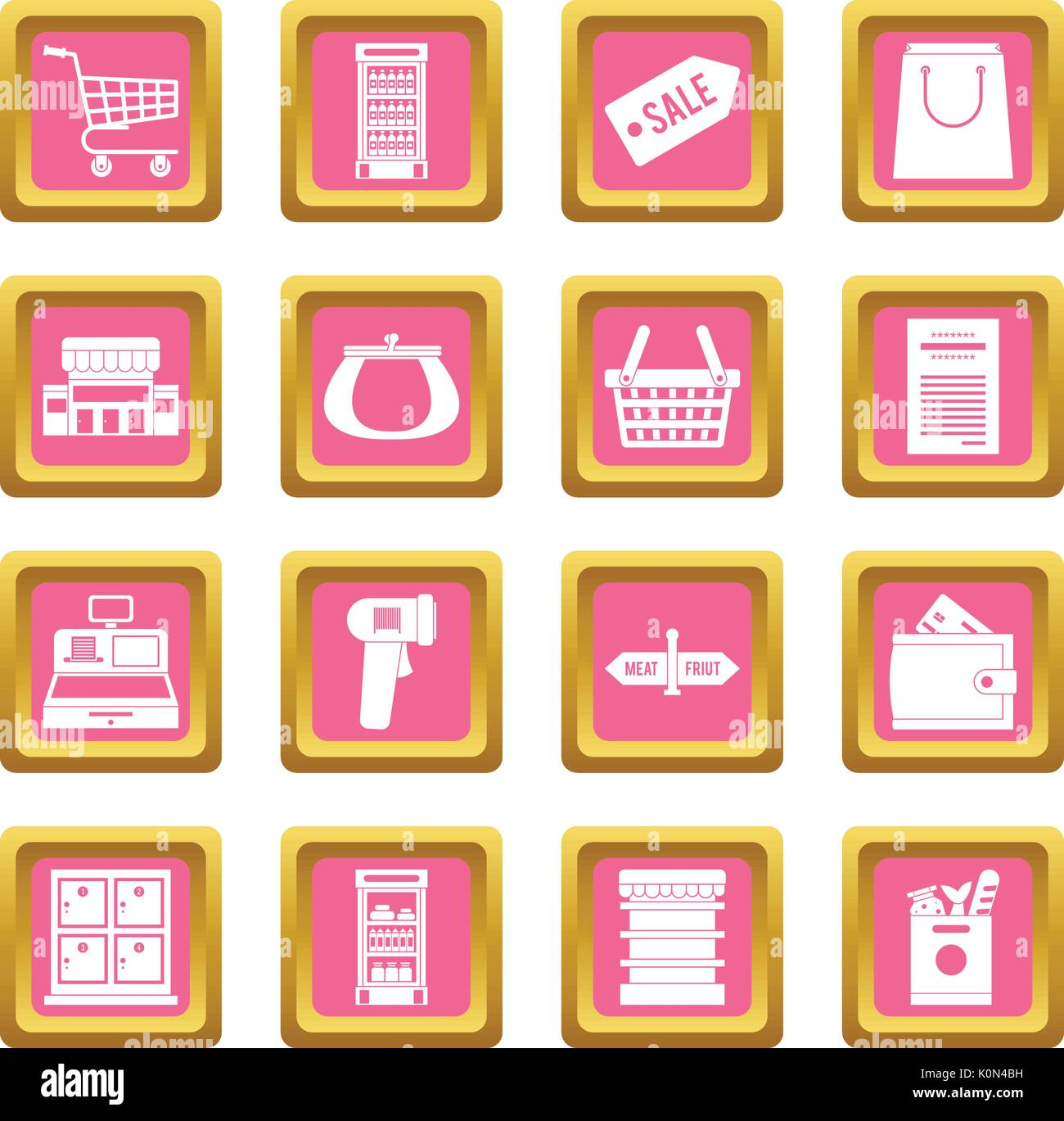 Supermarket icons pink - Stock Vector