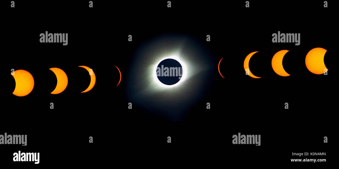 Total solar eclipse USA 2017. This is a colage of the various phases of the total solar eclipse taken in August of 2017 - Stock Image