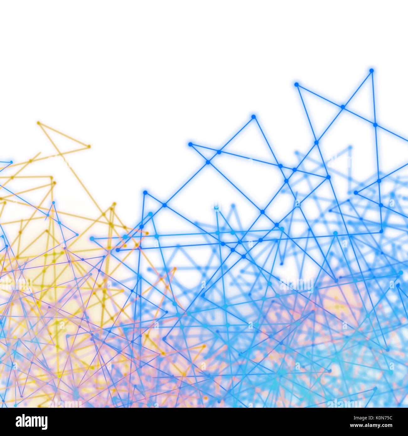 Plexus style effect tech background of futurtic mesh of wires and triangles Stock Photo