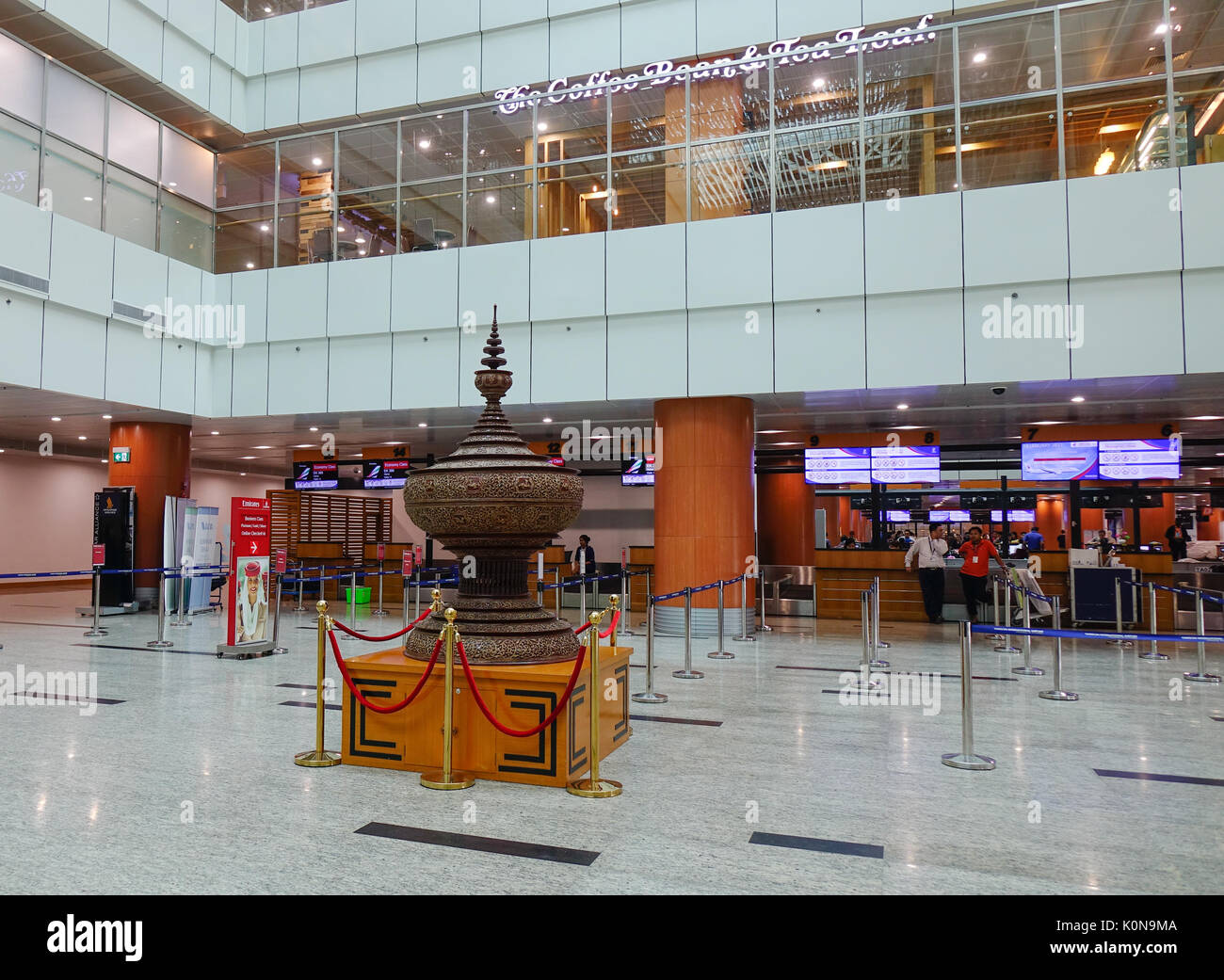 Yangon, Myanmar - Feb 14, 2017. Interior of Departure Hall of Yangon Airport in Myanmar. Yangon Airport is the primary and busiest international airpo - Stock Image