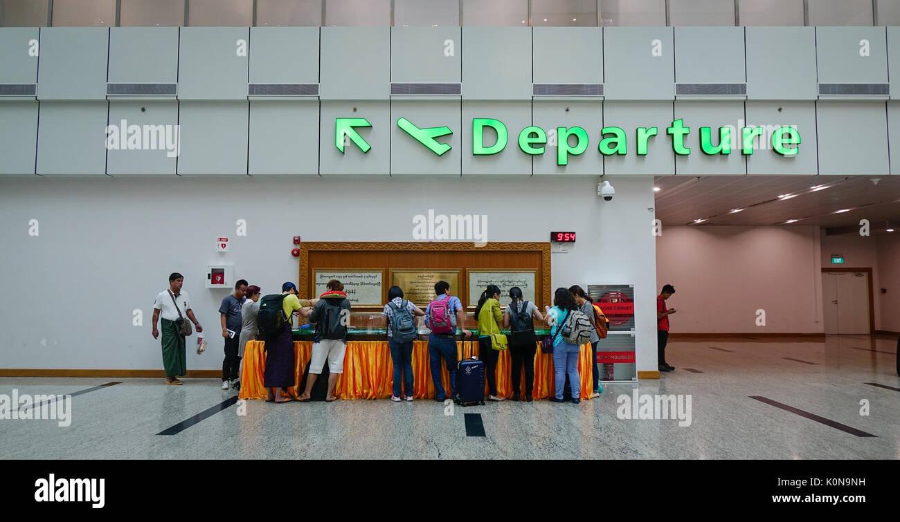 Yangon Myanmar Feb 14 2017 Passengers At Departure Hall Of Stock Photo 155361965 Alamy