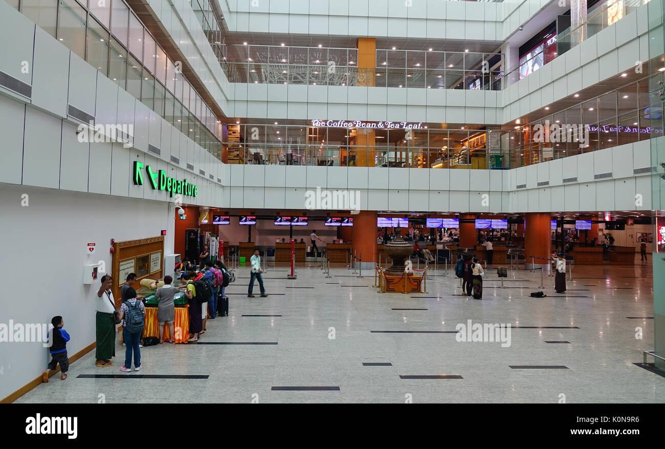 Yangon Myanmar Feb 14 2017 People At Departure Terminal Of Stock Photo Alamy