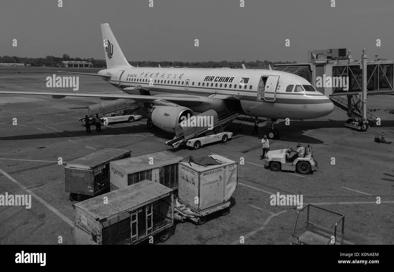 Yangon, Myanmar - Feb 14, 2017. Air China aircraft at the Yangon Intl Airport in Myanmar. Yangon Airport capacity Stock Photo