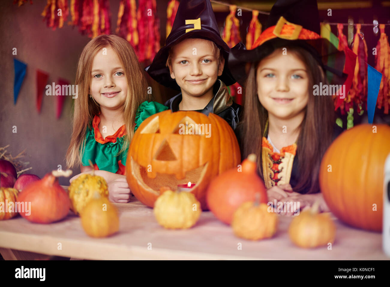 we are very proud of our jack o'lantern - Stock Image