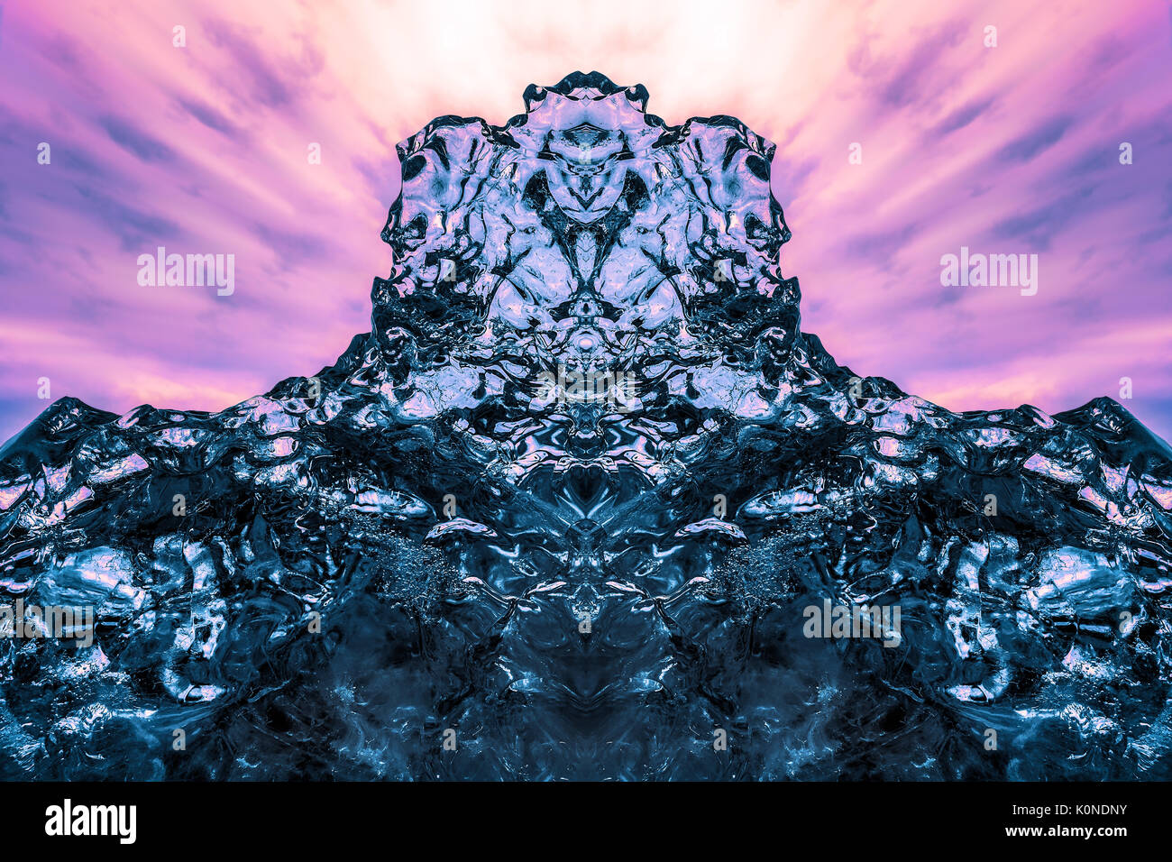 Abstract ice formation mirrored at Jokulsarlon Beach Southeast Iceland - Stock Image