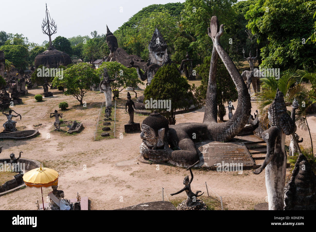 Buddha Park outside Vientiane contains over 200 sculptures depicting Hindu and Buddhist deities. - Stock Image