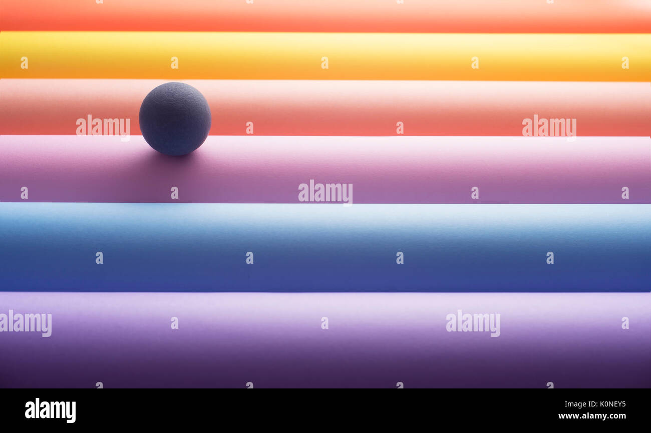 Sphere on colourful tubes, 3D Rendering - Stock Image