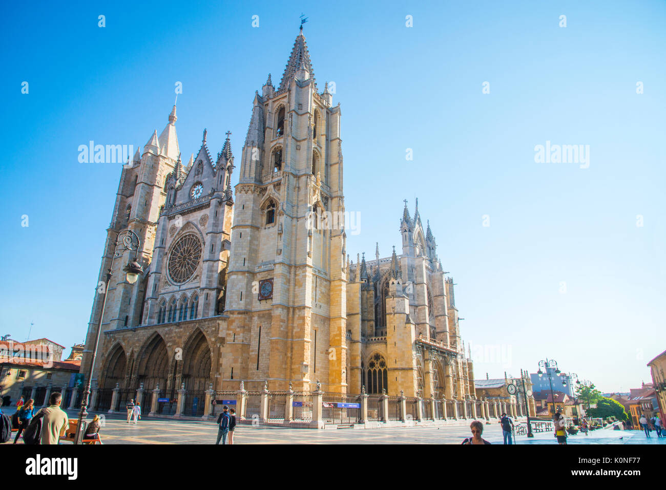 Facade of the Gothic cathedral, UNESCO Patrinomy. Leon, Spain. - Stock Image