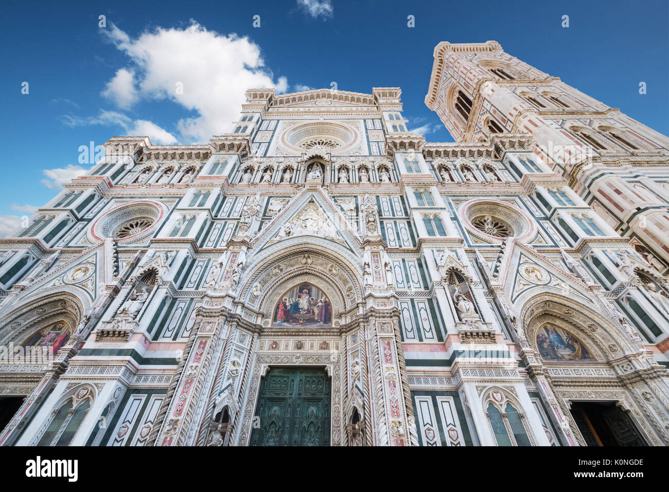 detail of the facade of famous Florence cathedral, Santa Maria del Fiore. - Stock Image