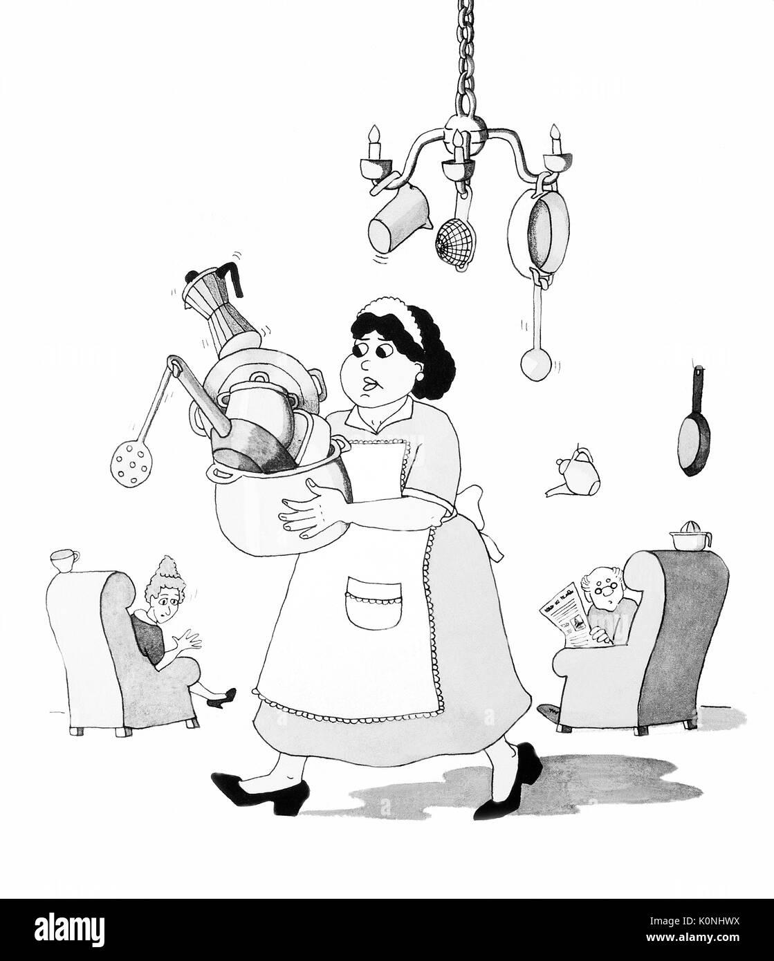 Housemaid doing  strange things. Illustration. Stock Photo