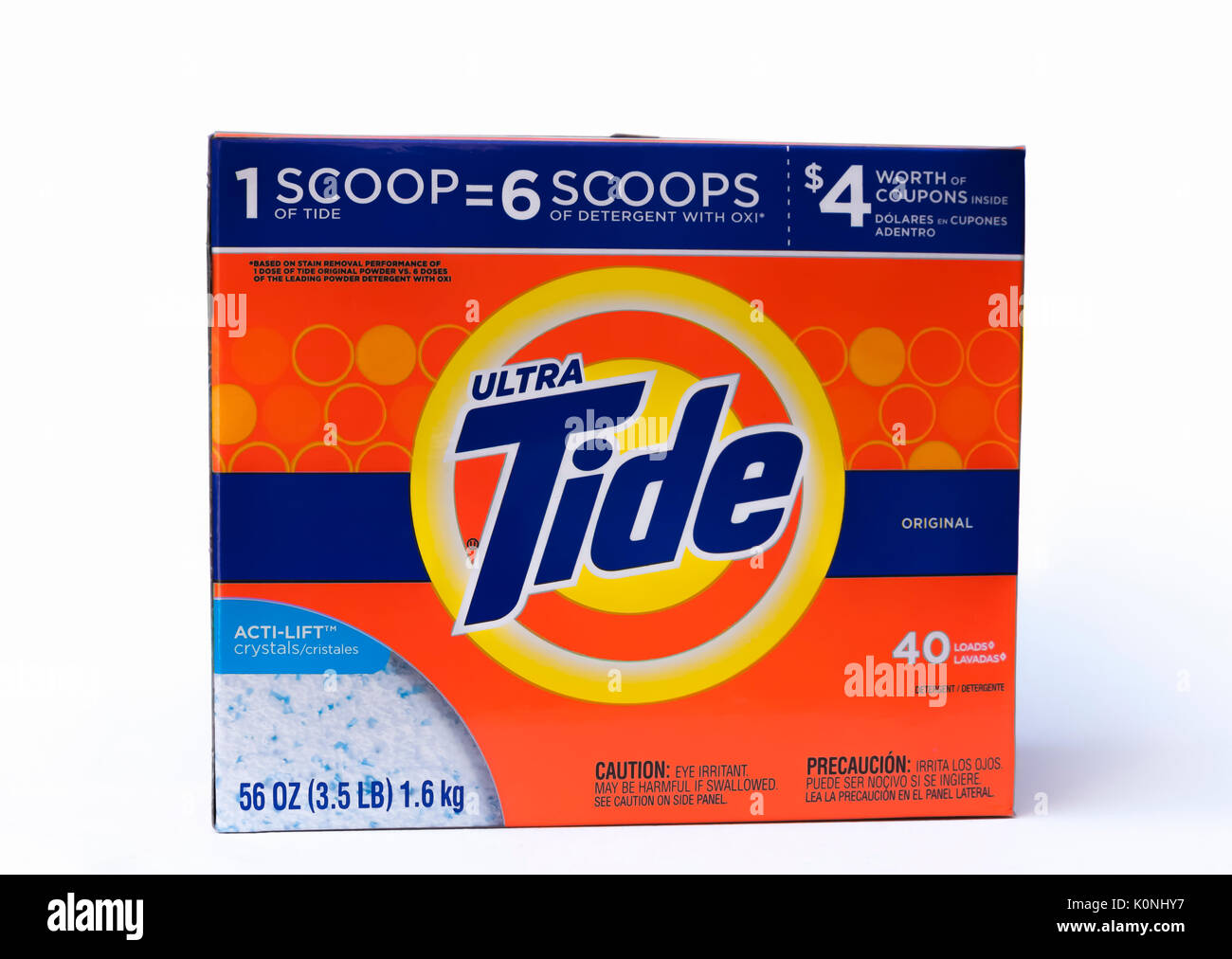 Box of Ultra Tide Laundry Detergent. - Stock Image