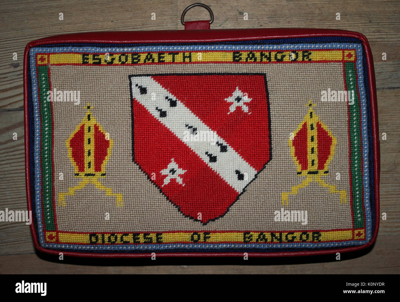 Prayer Cushion with Diocese of Bangor Coat Of Arms Design - Stock Image