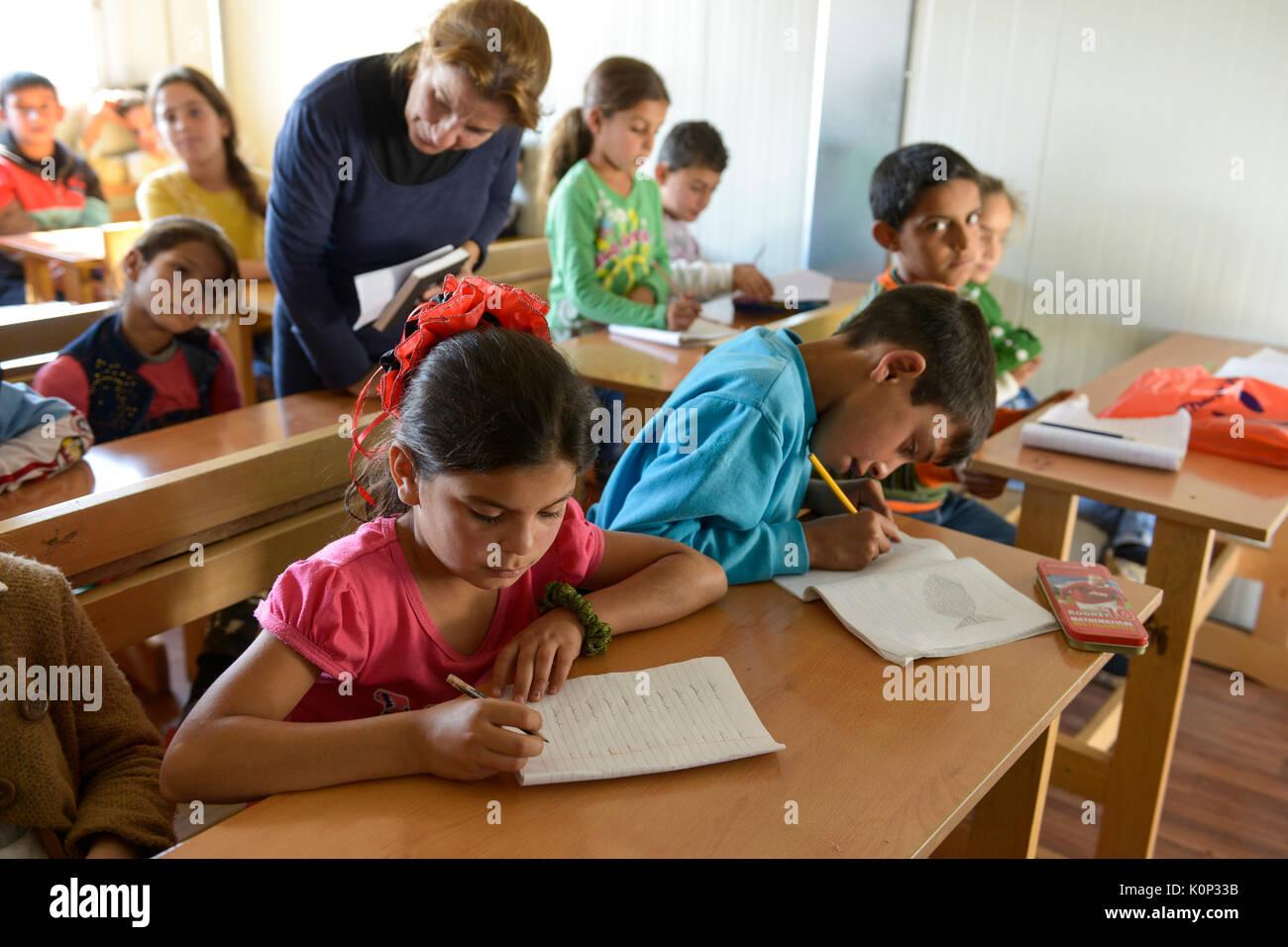 LEBANON Deir el Ahmad, a maronite christian village in Beqaa valley, school for syrian refugee children, school of Good Shepherds Sisters of maronite church - Stock Image