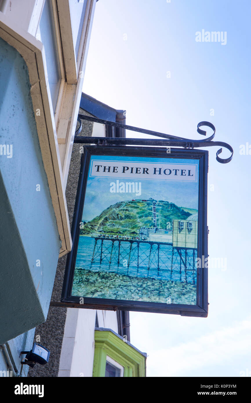 The Pier Hotel pub sign in Aberystwyth Ceredigion Wales UK - Stock Image